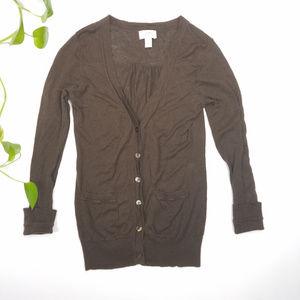 Ann Taylor LOFT Brown Cardigan Sweater Sz S